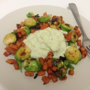 Mashed Cauliflower with Maple Bacon Roasted Brussel Sprouts & Sweet Potato Hash